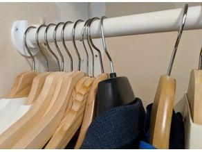 Wardrobe closet rod bracket / bar holder
