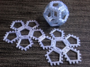 Customizable hinge/snap Dodecahedron net