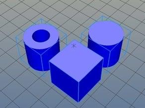 Calibration cube cylinder hole