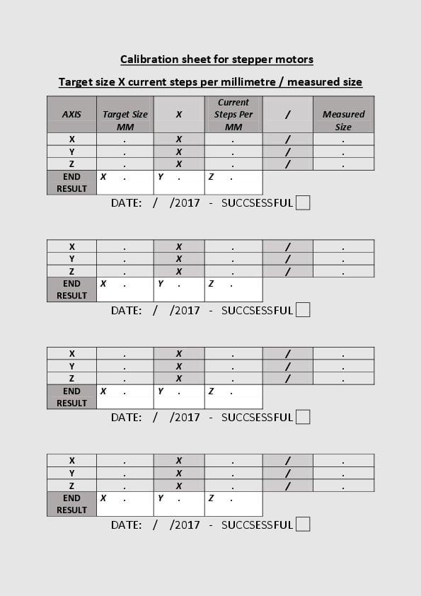 Calibration Sheet For Stepper Motors by Davidlewtas