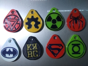 Collection Keychains Logos Super Heroes