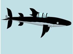 tintin submarine shark - sous marin requin rev A