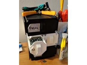 Octagonal modular small parts organizer