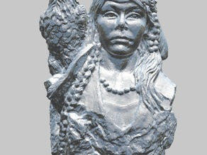 Native American (Indian) Girl with Eagle Statue