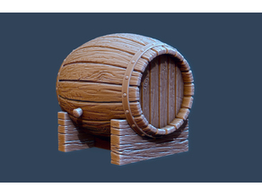 Wooden Barrel and Stand