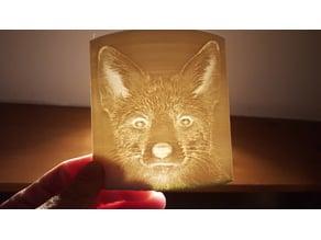 lithophane fox & baby scan