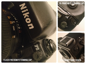Nikon F5 Hot Shoe cover, Flash Sync and 10-pin Remote Terminal caps