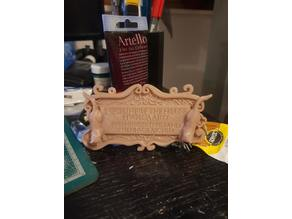 Fantasy name plaque - hanging sign for the wall