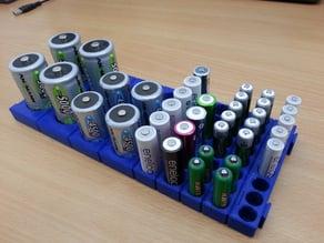 Battery holder for drawers (modular, parametric)