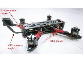 Red Black concept FPV drone parts - Camera mount, vtx mount, ESC mount.
