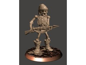 28mm Pirate Skeleton Warrior with Harpoon Gun