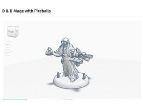 Mage with Fireballs D&D Figurine