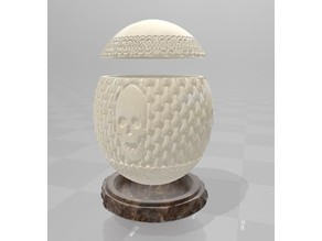 Celtic Carved Ostrich Egg + Stand