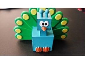 3D Block Zoo Peacock