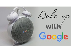 Retro Alarm Clock Stand for the Google Home Mini (snap together)