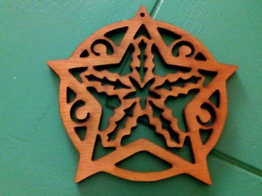 Christmas Tree Ornament - Star with holly Flat (laser cutter version)