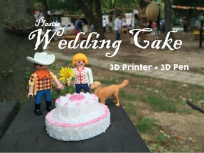Plastic Wedding Cake = 3D Printed + 3D Pen