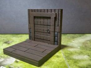 modular wood floor and wall - door