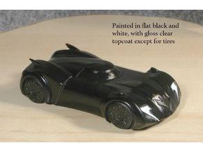Re-imagined Batmobile car body in HO scale