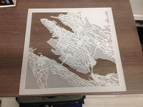 Lasercut map of Bergen, Norway