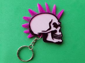 Skull keychain with hair