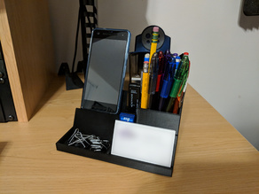 Desk Organizer w/ Phone Stand, Business Card Holder, & USB/SD Storage
