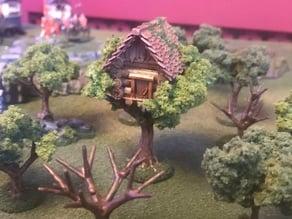 Tree House, Wargames tree Building Feature Terrain - 15mm