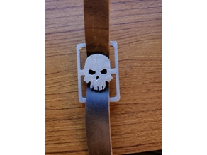 Skull buckle for leather strap.