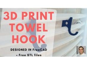 Radiator Towel Hook / Hanger  - 3D print - FreeCAD DIY design