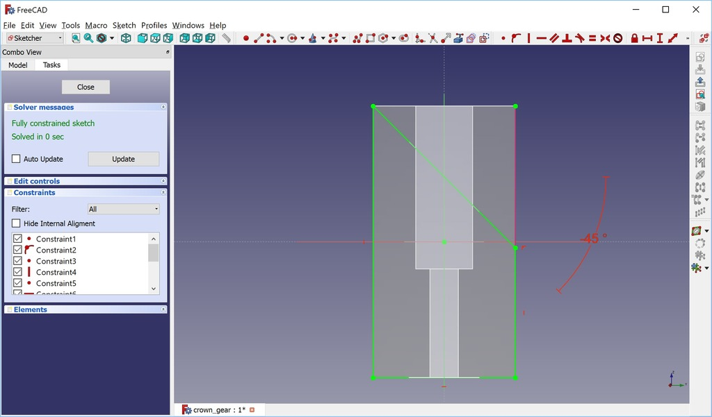Simple and Accurate Crown Gear (or Hirth Joint) in FreeCAD