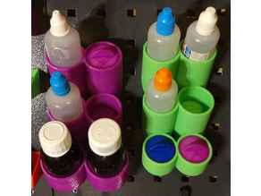 Chemical bottles holders with drawers for OBI pegboards.123dx