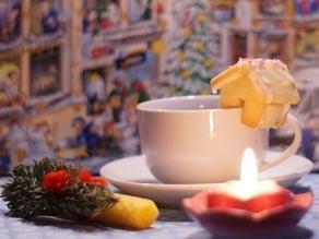 Christmas House that sits on the edge of your mug.