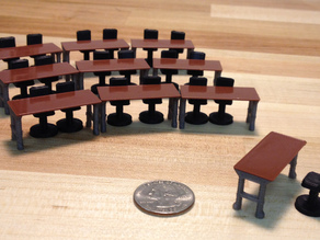 Model Work Bench and Drafting Stools  (1/48 scale)
