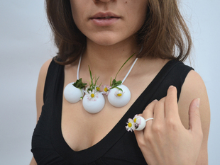 Demi-Sphere flowerpot necklace