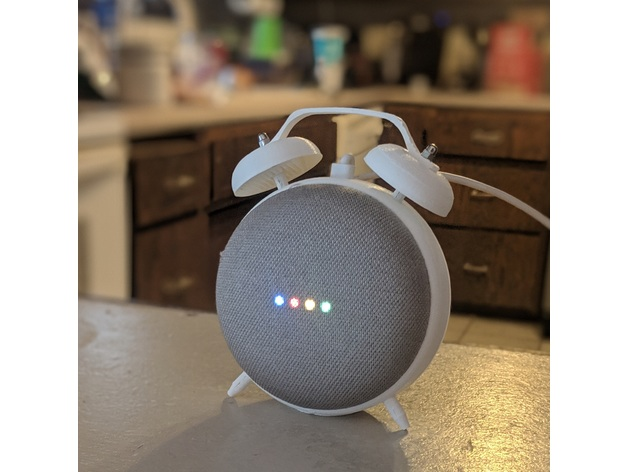 Retro Alarm Clock Stand for the Google Home Mini by Yelt
