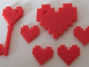 8 Bit Heart Pendant Charm Set