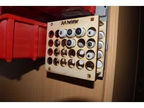 laser cut battery holder AA for workshop storage bin 6x4
