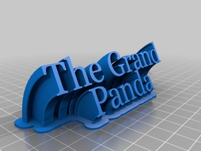 """The Grand Panda"" Sweeping 2-line name plate"