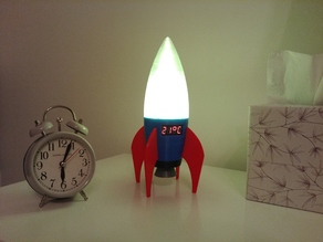 Retro Rocket LED Lamp with Digital Thermometer