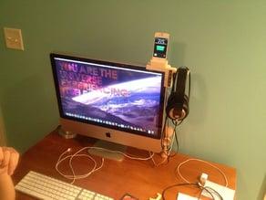 Headphone stand, iPhone dock, USB hub, and headphone jack.