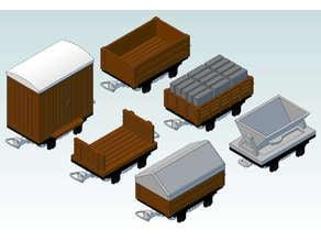 009 gauge 6 Simple Wagons
