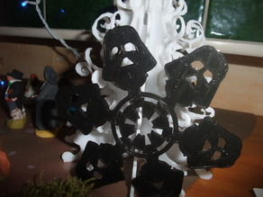 Simplified 3d Printable Darth Vader Snowflake Ornament