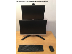 Dual vertical LCD monitor stand VESA - 3 Assembly Variants