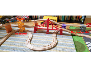 Wooden train track double overpass (Brio compatible)