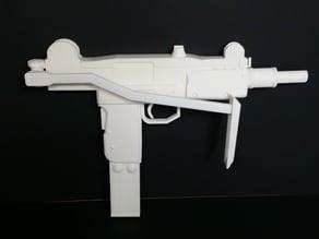 Mini-Uzi submachine gun with shoulder stock opened. (Replica)
