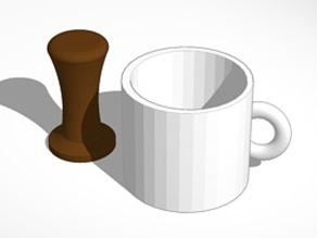 mug and coffee tamper