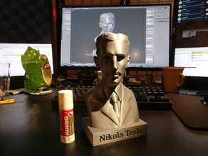 Tesla Bust With Tiny Annotated Plinth