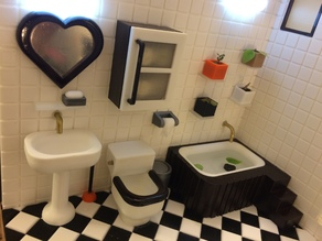Miniature tub & tub  case (bathroom)