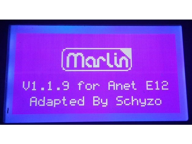 Anet E12 Marlin 1 1 9 Firmware by SchyzoO - Thingiverse
