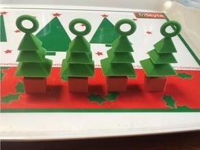 3d xmas tree mini ornaments 4 set